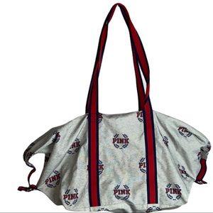 Pink Victoria's Secret Campus Grey Duffle Bag